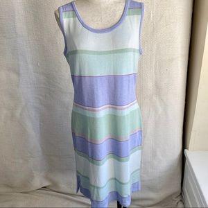 St. John 12 Easter Striped Santana Knit Tank Dress